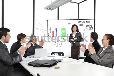 Business woman making the presentation and receiving applause Stock photo © zurijeta