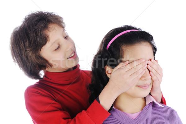 Dziewczyna dziewcząt oczy zobaczyć puszka odgadnąć Zdjęcia stock © zurijeta