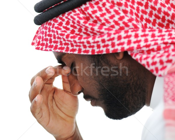 Arabic businessman stressed in crisis concerns Stock photo © zurijeta