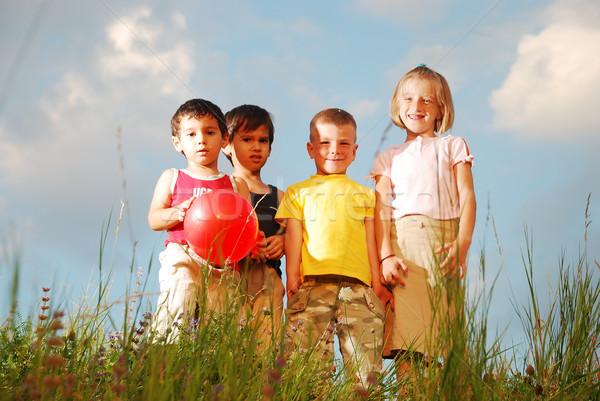 Feliz pequeño grupo ninos pradera verano verde Foto stock © zurijeta