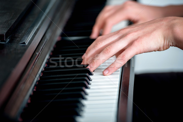 Closeup of a piano player Stock photo © zurijeta
