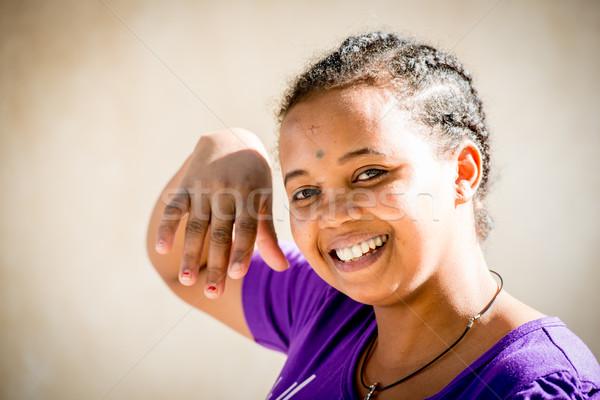 африканских девушки счастливым моде волос краской Сток-фото © zurijeta