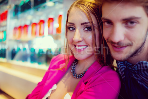 Authentic image of young real romantic couple having good time t Stock photo © zurijeta