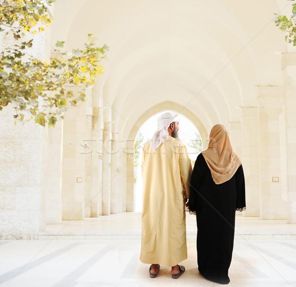 Muslim arabic couple walking together Stock photo © zurijeta