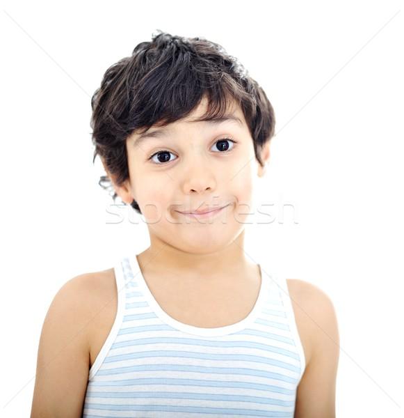 Gyerek portré szépség zöld muszlim fotózás Stock fotó © zurijeta