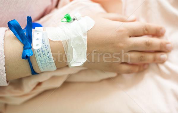Pasgeboren baby ziekenhuis lint hand Stockfoto © zurijeta