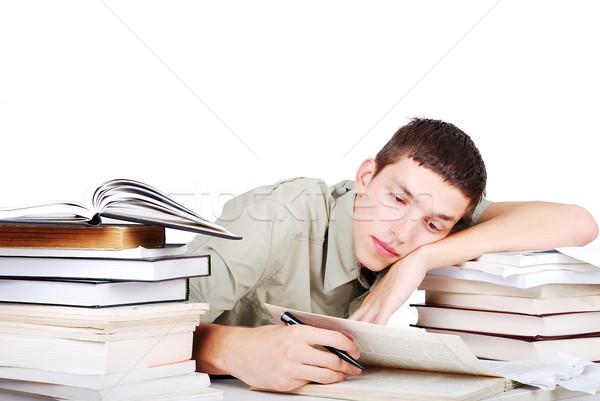 Jonge man veel boeken schrijven hand school Stockfoto © zurijeta