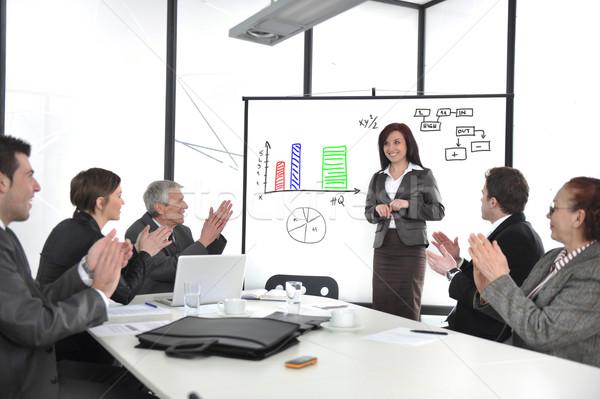 Businesswoman drawing a diagram during the presentation Stock photo © zurijeta