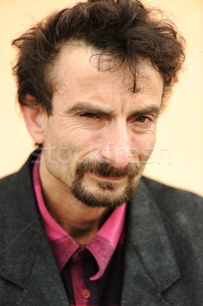 Stockfoto: Portret · aantrekkelijk · man · baard · naar · rechtstreeks