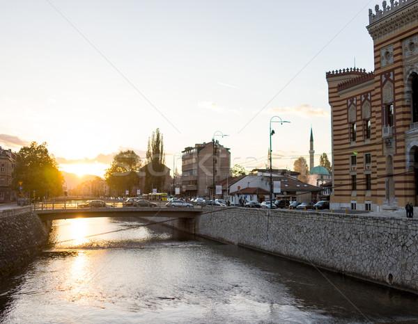 Barrio antiguo agua casa ciudad puesta de sol paisaje Foto stock © zurijeta