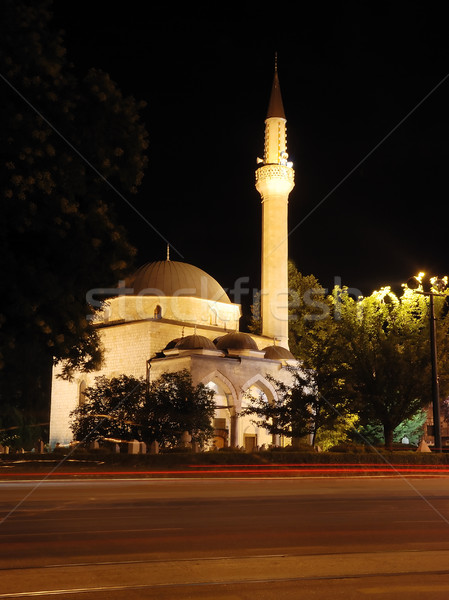 мечети полумесяц звездой светофор ночь красный Сток-фото © zurijeta