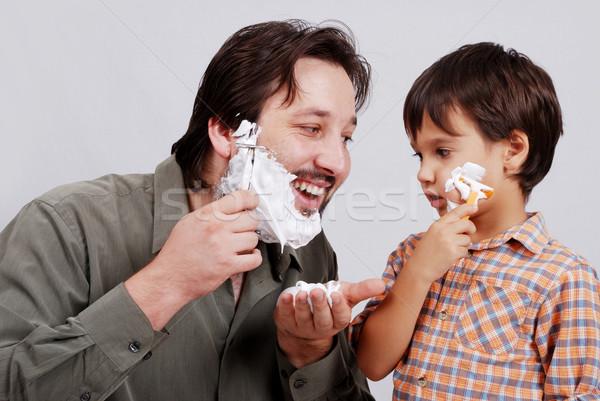 Om baie smântână tineri băieţi faţă Imagine de stoc © zurijeta