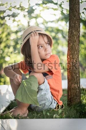 Jonge gelukkig meisje natuur ademhaling Stockfoto © zurijeta