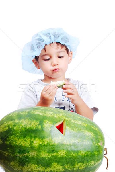 Sevimli çocuk yeme su kavun sağlık Stok fotoğraf © zurijeta