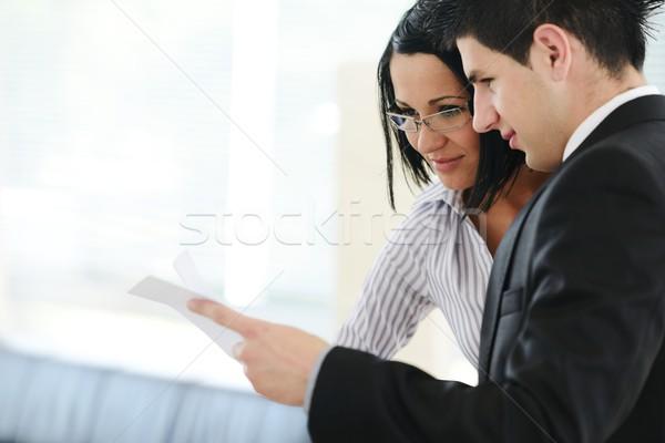 Kişisel mali müşavir tablet iş gülümseme toplantı Stok fotoğraf © zurijeta