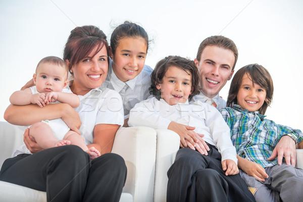 Mosolyog családi portré gyönyörű család kívül portré Stock fotó © zurijeta