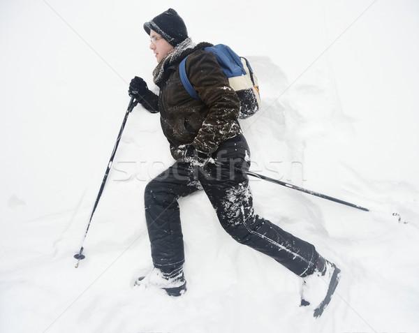 Trekking in in harsh winter conditions Stock photo © zurijeta