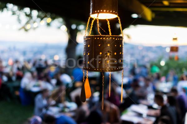 Lanterns for Ramadan with people crowd waiting for iftar Stock photo © zurijeta