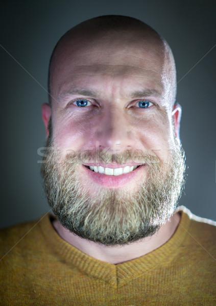 Kaal jonge knappe man blond baard glimlachend Stockfoto © zurijeta