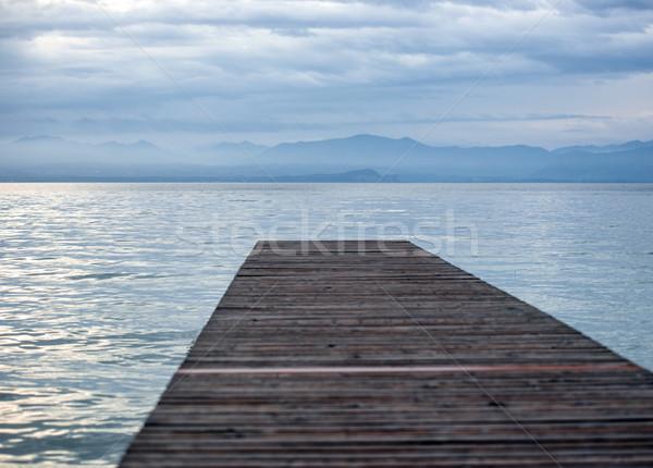 üres dokk tenger fából készült hajnal víz Stock fotó © zurijeta