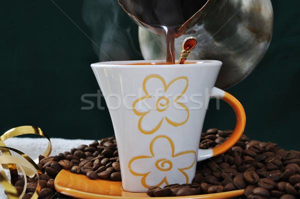 Quente café preparado flor textura espaço Foto stock © zurijeta