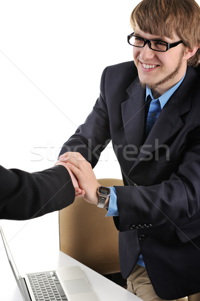 Young guy with glasses shaking hands Stock photo © zurijeta