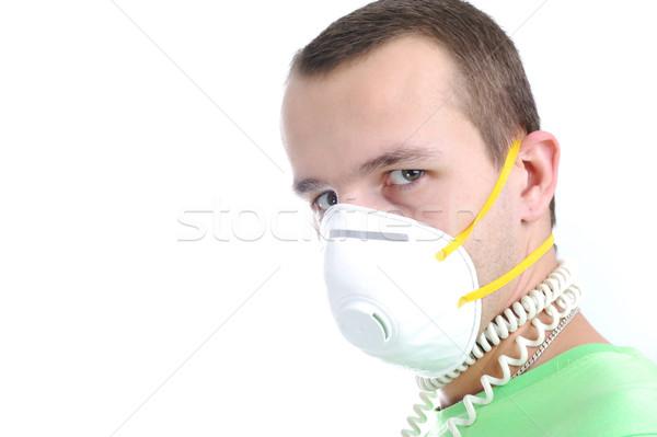 Férfi visel maszk védelem influenza vírus Stock fotó © zurijeta