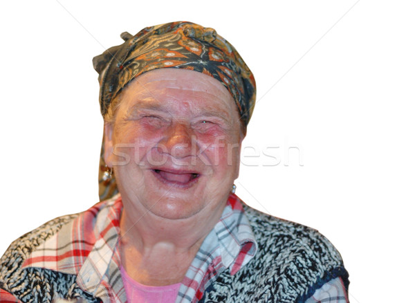 An old woman with funny laughing face Stock photo © zurijeta