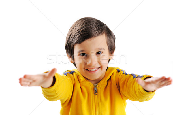 Smiling boy with the outstretched arms on a white background Stock photo © zurijeta