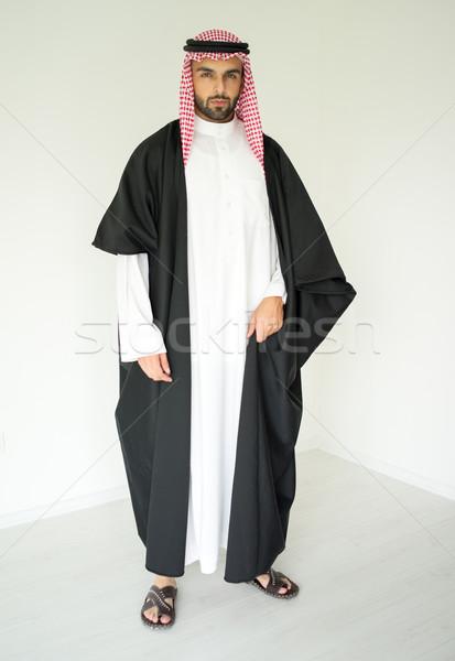 Portré vonzó arab férfi köntös arab Stock fotó © zurijeta