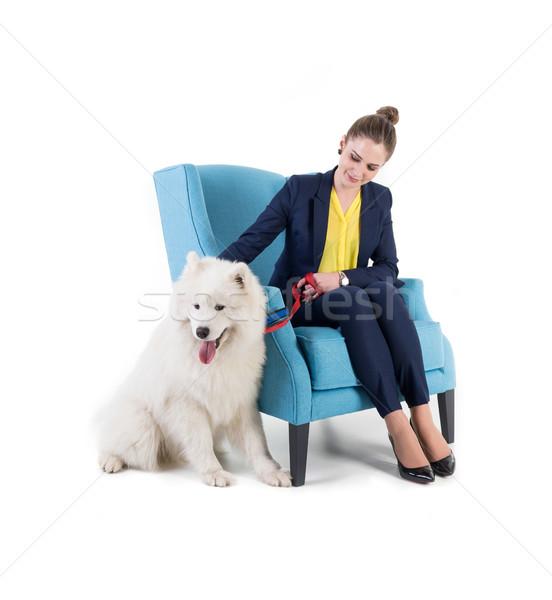Сток-фото: диван · изолированный · белый · собака · девушки · моде