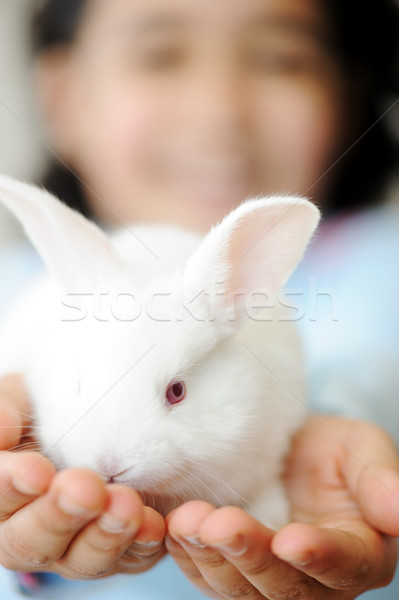 Happy child with beautiful cute Easter bunny pet Stock photo © zurijeta