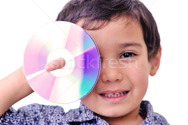 Young with cd dvd covered his right eye Stock photo © zurijeta