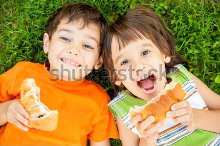 Dos cute ninos suelo naturaleza Foto stock © zurijeta