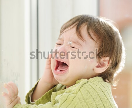Adorable baby boy on home glass Stock photo © zurijeta