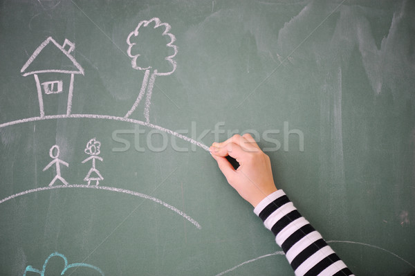 Childs hand drawing on a blackboard Stock photo © zurijeta
