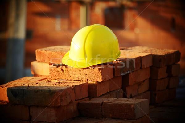 Inşaat kask tuğla Bina çalışmak Stok fotoğraf © zurijeta