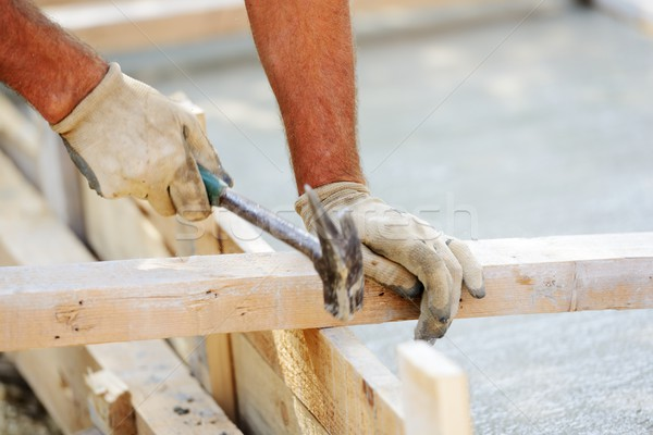Stock photo: Working and building on new house project