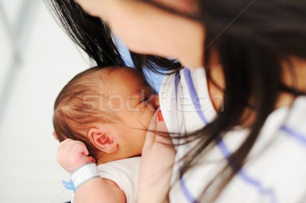 Moeder borstvoeding pasgeboren baby ziekenhuis borst Stockfoto © zurijeta