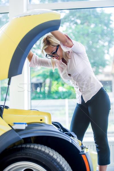 Zakenvrouw auto moeite naar bril zakenlieden Stockfoto © zurijeta