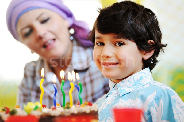 Cute kinderen vieren verjaardagsfeest speeltuin veel Stockfoto © zurijeta