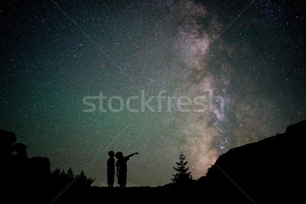 Melkachtig manier bomen bergen hemel bos Stockfoto © zurijeta