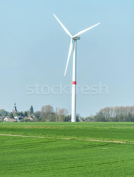 Rüzgar türbini pervane alan bulutlar yeşil gelecek Stok fotoğraf © zurijeta