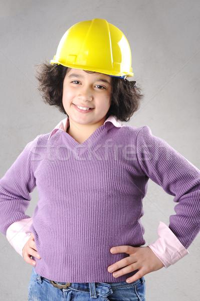 LIttle master girl engineer with helmet Stock photo © zurijeta