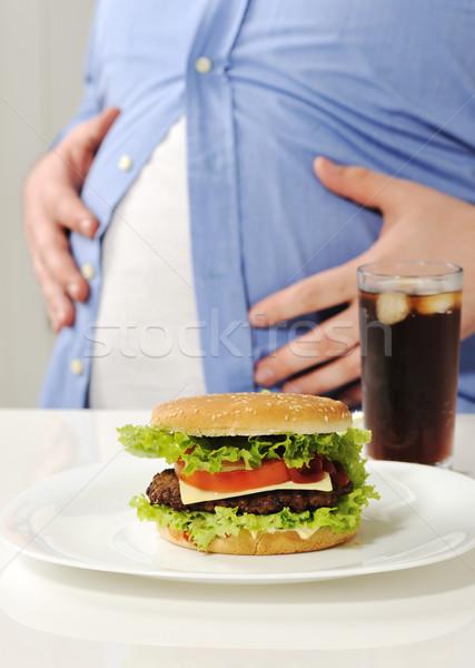 Gros homme hamburger Cola alimentaire homme santé Photo stock © zurijeta