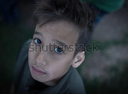Triest kid familie gezicht kind portret Stockfoto © zurijeta