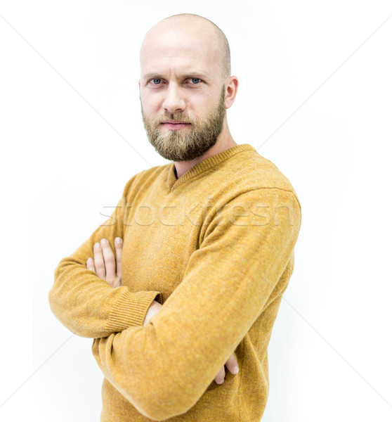 Stock photo: Bald young handsome man with blond beard