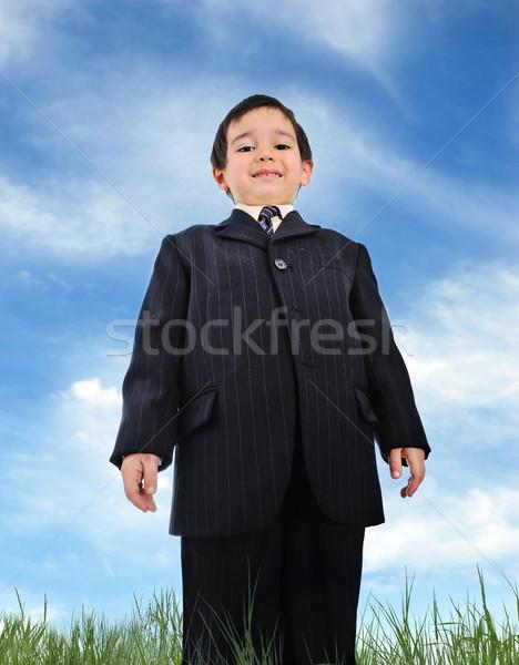 Jólöltözött gyerek üzlet felirat űr öltöny Stock fotó © zurijeta