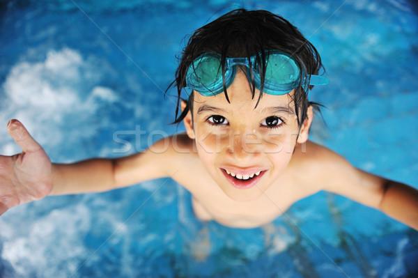 Stock fotó: Kicsi · fiú · úszómedence · gyermek · portré · vicces