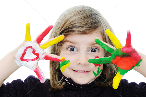 Cute girl with messy hands Stock photo © zurijeta